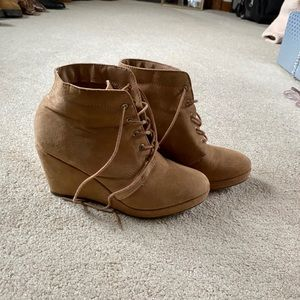 Forever 21 tan suede like booties